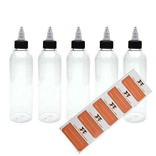 5 x 250ml Kunststoffflaschen aus PET mit Twist-Off Deckel, inkl. 5 Etiketten, Twist Cap, Leerflasche, Twist Top, Soßenflaschen, Quetschflaschen, Dosierflaschen, Ketchupflaschen, Saucenflaschen
