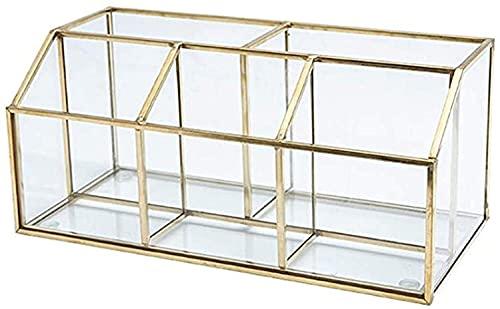 Geyan Make up Organizer 5 Fächern Transparente Tray Dekorative Glasschmuck Kosmetikbox Schmuck Pinselhalter Gold Aufbewahrungsbox für Nagellack und Puder Pinsel Lippenstift