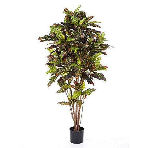 artplants.de Set 2 x Künstlicher Goldfinger Baum, 210 Blätter, grün-gelb - rot, 120cm - Künstliche Pflanzen - Kleiner Dekobaum