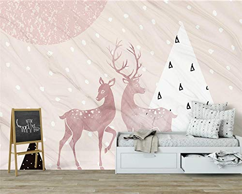 Custom Modern Decorative Painting Stereo Wallpaper Pink Geometric elk Children Room Background Wall Papers Home Decor Speedcoming x1139-200x140cm/79'x 55'