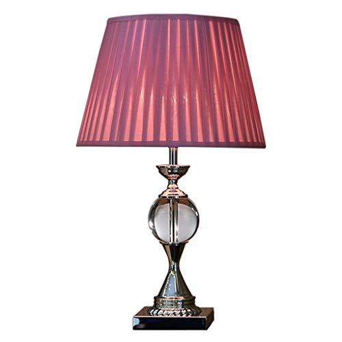 Lámpara de mesita de noche Lámpara de mesa tradicional Lámpara de mesa de cristal moderna y sencilla, lámpara de cristal, cuerpo, rosa / pantalla beige, apta for sala de estar / dormitorio Lámpara de