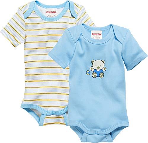 Schnizler Baby-Unisex 1/4-Arm 2er Pack Bärchen Body, Blau (Bleu 17), 50 (Herstellergröße: 50/56)
