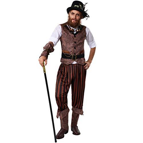dressforfun 900491 - Costume Uomo Adulti Avventuriero Steampunk, Inclusi Pantaloni a Righe in Look piratesco (XL | No. 302338)