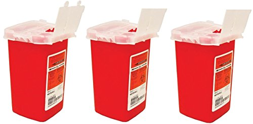 Kendall 8900SA Sharps Container Biohazard Needle Disposal 1 Quart Size, 1 quarts (Pack of 3)