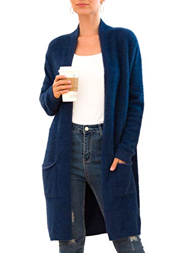 QIXING Womens Open Front Loose Knit Plush Cardigans Long Sleeve Casual Oversized Sweater Coat Navy Blue-Medium