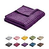 Uozzi Bedding Flannel Fleece Baby Toddler Blanket All-Season Ultra Soft Plush Thin Small Blanket for Crib -100% Microfiber Polyester Purple 27X39 Inch