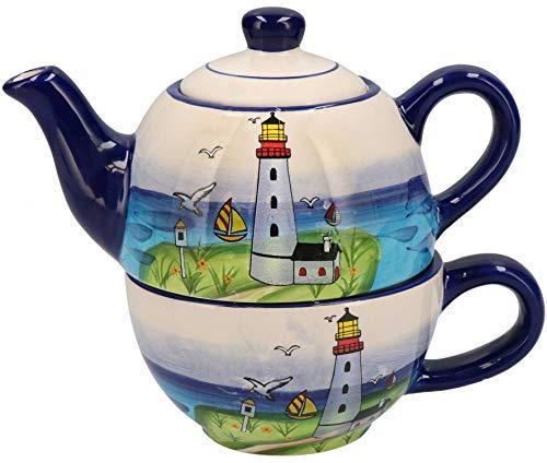 Tony Brown - Maritimes Leuchtturm Geschirr aus Keramik (Teekanne mit Tasse)