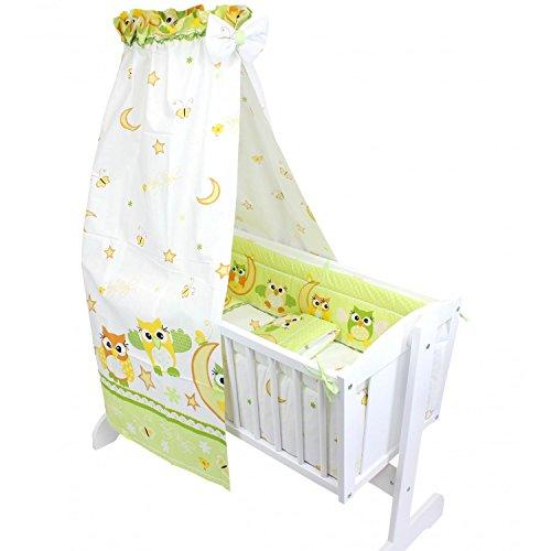 TupTam Unisex Baby Wiegen-Bettwäsche-Set 6-TLG, Farbe: Eulen Grün, Anzahl der Teile:: 6 TLG. Set
