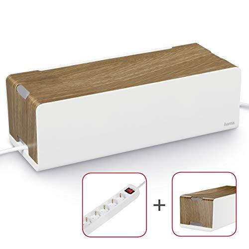Hama Kabelbox Maxi mit Gummifüßen (Kabelmanagement, 40 x 15,5 x 13 cm (B x T x H)) Woodstyle + Steckdosenleiste 6-fach mit Safe-Energy-Schalter, weiß