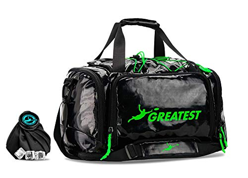 GREATEST Ultimate Bag 45 Liter - #1 World's Ultimate Frisbee Bag. Built in Insulated Cooler Compartment and Organization System. Also Perfect Sports Duffel Bag for Other Outdoor Sports - Green