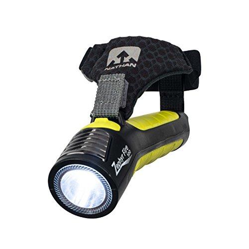 Nathan Running Taschenlampe Taschenlampe Zephyr Fire 100 mit Sirene LED-Licht für Läufer, Walker, Radfahrer, Kinder, Sicherheit Handheld Dual Front- und Rücklicht zum Sehen und Hinsehen Wiederaufladbarer Akku., Unisex, Black/Sulfur Spring, One