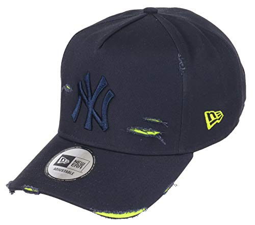 New Era New York Yankees 9forty A Frame Adjustable Cap Distressed Navy/Neon Yellow - One-Size