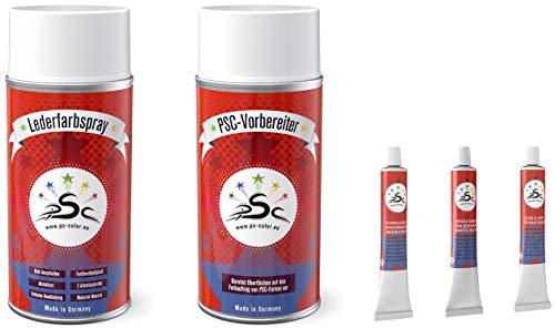 Penta Star Color Set 5-400: Leather verf voor Porsche Chocolate Chocolade & Leer Cleaner 400ml Spray & vloeibaar leer & lederen spatel 8gr & Leather Sticker 8gr Tube om te kleuren, flikken en restaureren van lederen stoelen, leren schoenen & andere lederen artikelen
