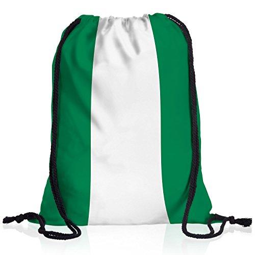 style3 Nigeria Turnbeutel Rucksack Tasche Afrika Flagge WM EM Sport Beutel Festival Fahne Uni Schule Bunt