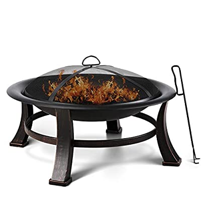 FIXKIT 30'' Fire Bowl Outdoor Patio Fire Pit with Mesh Spark Screen Cover, BBQ Grill, Log Grate, Firepit Poker, Waterproof Cover, Wood Burning Stove for Backyard, Camping, Bonfire, Patio, Garden