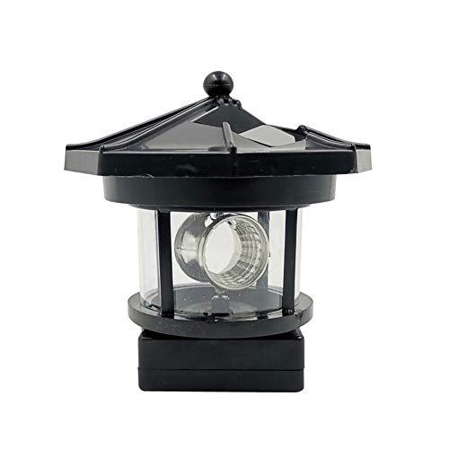 Rongchuang Solar-LED Rotierender Leuchtturm, Wasserdichtes IP44 360-Grad-Miniatur-Rotierender Gartenlichtgarten-Outdoor-Deko-Laterne für Den Pathway-Patio-Yard