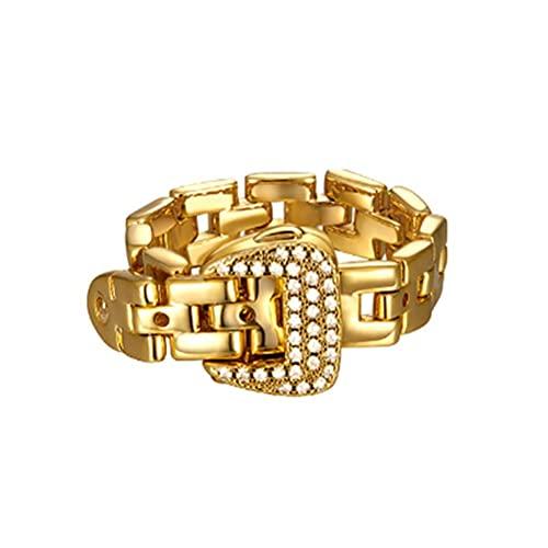 Breale 1 anillo vintage chapado en oro con diamantes de imitación desmontables de metal para cinturón de hebilla de pulsera, anillo de joyería de lujo para mujeres y hombres