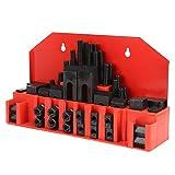 58Pcs M 14 Kit de abrazadera de ranura en T Abrazaderas de ángulo de ranura en T Placa de prensa combinada para piezas de trabajo de máquinas herramientas Moldes Tornos CNC y varias herramientas para