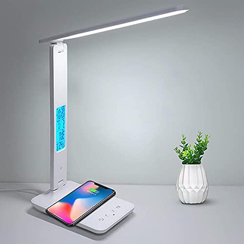 Lámpara de escritorio LED de nuevo tipo con cargador inalámbrico, lámpara de escritorio LED multifunción 4 en 1 con función de memoria / reloj despertador / temperatura y calendario, lámparas de escr