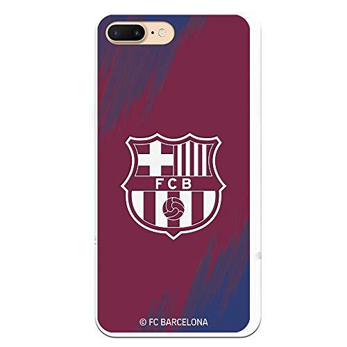 Funda para iPhone 7 Plus - iPhone 8 Plus Oficial del FC Barcelona - Escudo Blanco Pincelada para Proteger tu móvil. Carcasa para iPhone de Silicona Flexible con Licencia Oficial de FC Barcelona