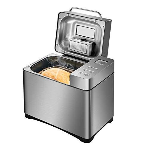 Kacsoo Edelstahl Brotbackautomat 650W mit 12 Programmen, Digitalanzeige, Multifunktionaler Brotbackautomat mit Beobachtungsfenster, für 500g, 750g, 1000g Brotgewicht