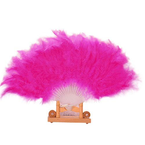 YWLINK Abanicos,28 Abanicos De Plumas Boda Showgirl Danza Elegante Pluma Grande Plegable Mano Fan Decor Decal Fiesta De Bodas Manualidades Memorial Nacional De Viento(Rosa Caliente)