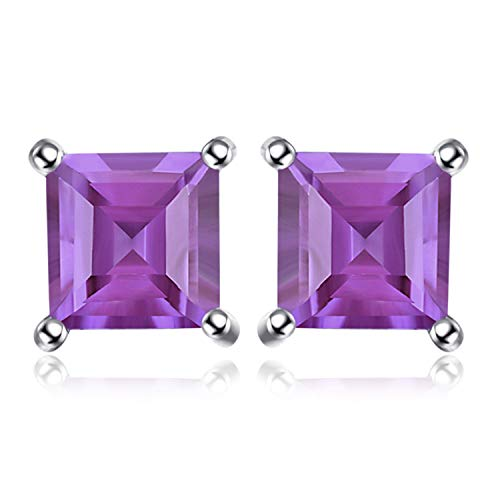 JewelryPalace Square 0.6ct Natürliche Amethyst 925 Sterling Silber Ohrstecker