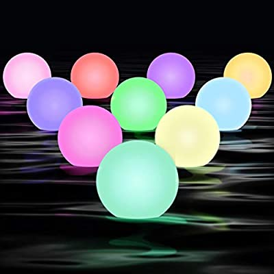"CHOOBY Floating Pool Light with 2 Remote Controls, 10 Psc 3"" Waterproof Hot Tub Bath Toys for Kids,16 RGB Colors Changing LED Ball,Pool Decor for Adults Pool Garden Backyard Lawn Beach Party"