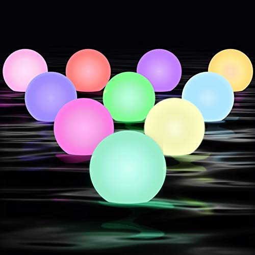CHOOBY Floating Pool Lights 10 Pack, 16 Colors Changing LED Ball Lights IP67 Waterproof with 2 Remote Control &Timer for Tub Bath Pond Pool Beach Garden Backyard, Decorative Night Light, Event Party
