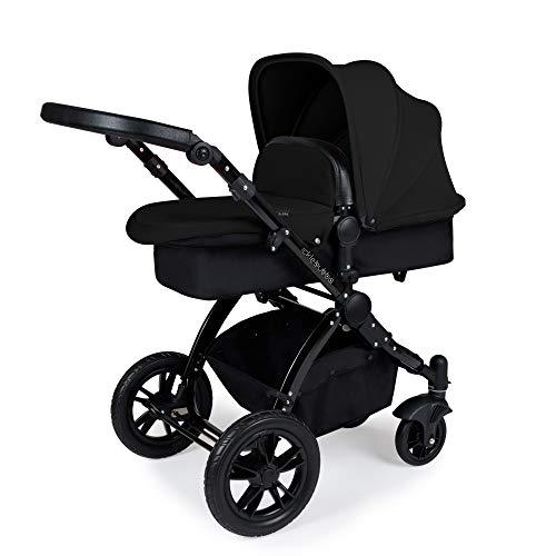 Ickle Bubba Stomp V3 i-Size Sistema de viaje con base Isofix | El paquete incluye capazo, cochecito, asiento de coche, accesorios | Chasis negro sobre negro