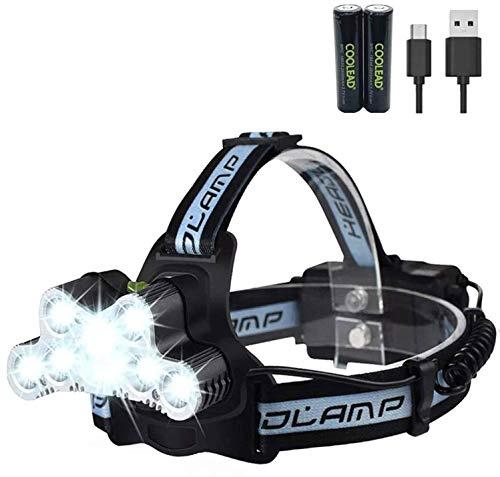 Linterna Frontal Súper Brillante Recargable y Impermeable de 10000 Lúmenes con 6 Modos para...