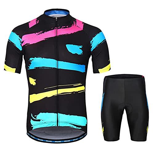 Conjunto de camiseta de ciclismo para hombre, manga corta + pantalones cortos de ciclismo con almohadilla de asiento 3D. Ropa de ciclismo MTB Sport Trajes para ciclismo Jogging, color negro