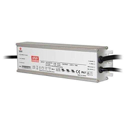 MEANWELL ACC1227-F Transformateur 24VDC 240W IP67 DIM 1-10 Alu-HLG-240H-24B, Plastique,et Autre materiaux, 240 W, Blanc, Hauteur x Largeur x Profondeur : 244, 2 mm x 68 mm x 38, 8mm