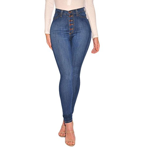 VEZAD High Waisted Skinny Denim Jeans Women Stretch Slim Pants Calf Jeans Blue