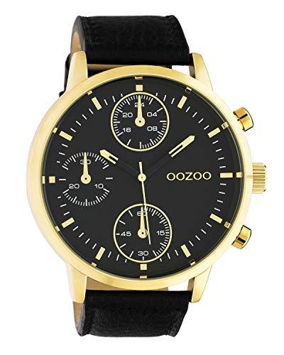 Oozoo Herrenuhr Chrono Look mit Lederband 50 MM Goldfarben/Schwarz C10531