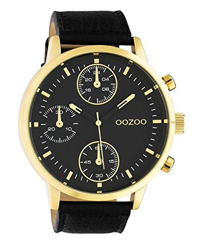 Oozoo herenhorloge chrono look met lederen band 50 MM goudkleurig/zwart C10531