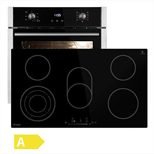 Fornuisset: 60cm inbouwoven EB8005ED + 90cm glaskeramische kookplaat KF9005RL (hete lucht, grill/brandersysteem, automatische timer, roestvrij staal) SET8005_9005RL - KKT KOLBE