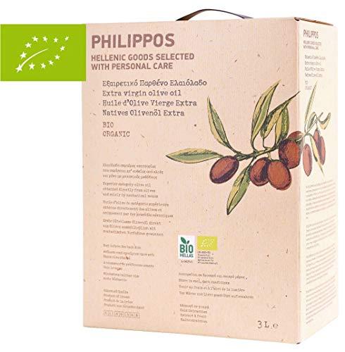 Jassas PREMIUM Phillipos BIO Olivenöl - 3,0l Bag-in-Box- Extra natives Olivenöl - Kaltgepresst - Hochwertiges Öl aus Griechenland - Säuregehalt < 0,4 {798ab3422d7f544ec444f7beb43806662391e5e0595f01d925e662aa18e3a12c} - Philippos Hellenic Goods - DE-ÖKO-038