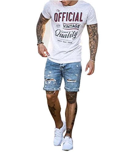 Men's Vintage Distressed Straight Slim Fit Ripped Denim Jeans Shorts Blue2 L