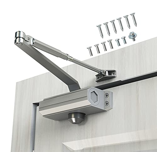 Automatic Door Closer Size 2 Suitable for Door Weight 25~45kg Spring Hydraulic Door Closer Aluminum Alloy Material Heavy Duty Easy Installation H-1322/H-1683/H-1883 (GK-1322(Size 2), a Silver)