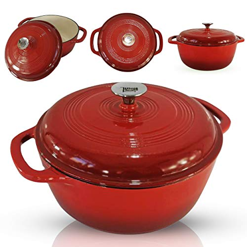 6-Quart Enameled Cast Iron Dutch Oven - Even Heat Distribution and Retention, Easy to Clean Surface, Pre-seasoned Cast Iron Enameled Cookware, Healthy Cooking, Red