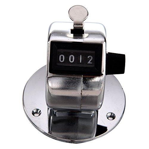 Cikuso Contador de Clic de Palma mecanica Cuenta de Mano Manual de 4 digitos Base Redonda