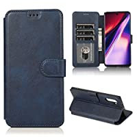 YAN カーフテクスチャホルダー&カードスロット&財布&フォトフレームと磁気バックル水平フリップレザーケース (色 : Blue)