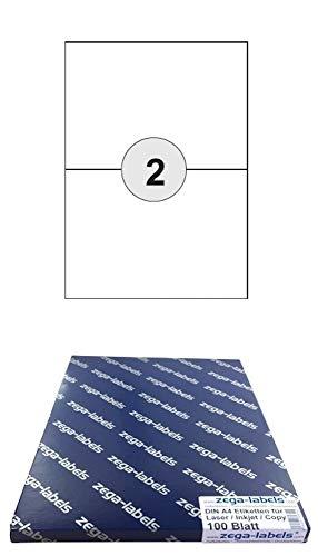 200 Etiketten 210 x 148 mm selbstklebend auf DIN A4 Bögen (1x2 Etiketten DIN A5) - 100 Blatt Pack - Universell für Laser/Inkjet/Kopierer einsetzbar - 210x148mm 2-teilig