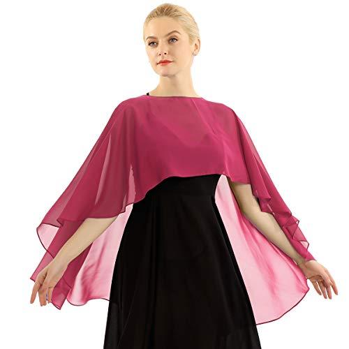 Yeahdor Women's Bridal Chiffon Shawl Wraps Bolero Cardigan High Low Shrug Wedding Capes Casual Wraps Burgundy One Size
