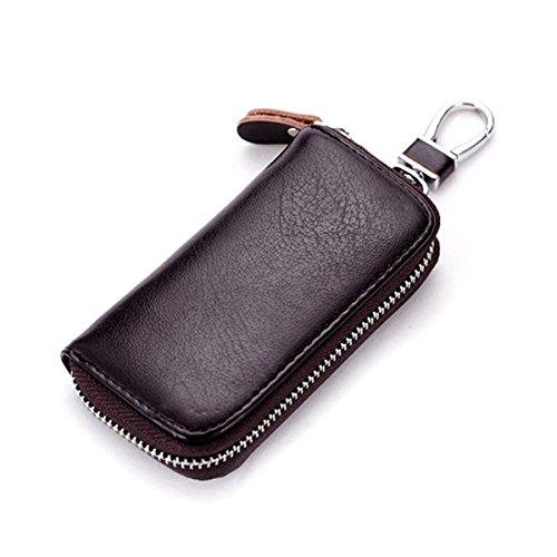WINOMO Leder Schlüsseltasche Etui Geldbörse für Schlüssel Kreditkartenfächer Autoschlüssel (Kaffee)