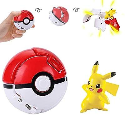 su ma Poké Bolas Pokéball, Pokemon Figuras with Throw Pop Poké Ball Toy Set para Niños y Adultos Celebración de Fiestas Divertido Juego de Juguete de Regalo (Pikachu) por