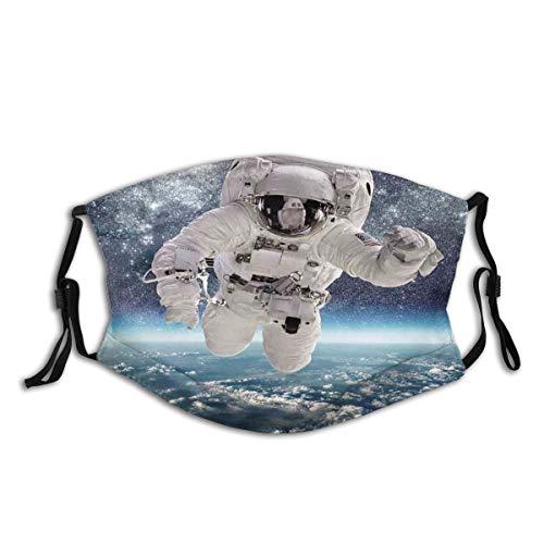 Waschbarer Mundschutz Anti-Staub-Gesichtsschutz,Weltraum-Thema Astronaut in der Milchstraße drucken Galaxie Sternenstaub Erde,Wiederverwendbar winddicht für Outdoor-Ski Radfahren Camping Laufen