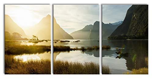 Pixxprint Milford Sound Neuseeland als XXL Leinwandbild in Übergröße 240x120cm Gesamtmaß 3 teilig/Wandbild/Kunstdruck