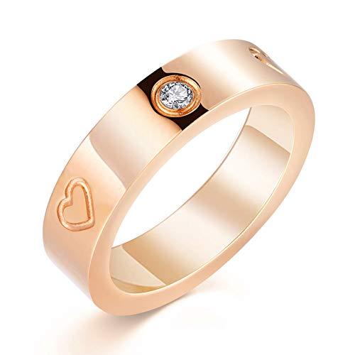 PDWZNBA Anillo de la amistad de amor chapado en oro de 18 quilates con circonita cúbica de acero inoxidable, anillo de promesa de boda, regalo de cumpleaños para mujeres adolescentes y niñas